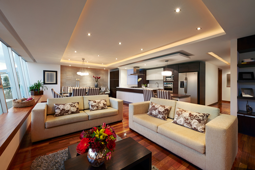 newly renovated home with LED down lights and bright lighting features
